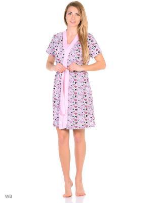Домашний костюм Magwear. Цвет: бледно-розовый, серый
