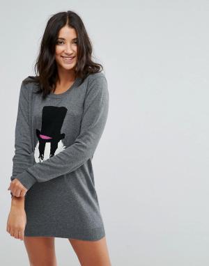 Louche Платье-джемпер с барсуком Mr Badger. Цвет: серый