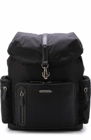 Текстильный рюкзак с клапаном и внешним карманом на молнии Ermenegildo Zegna. Цвет: черный