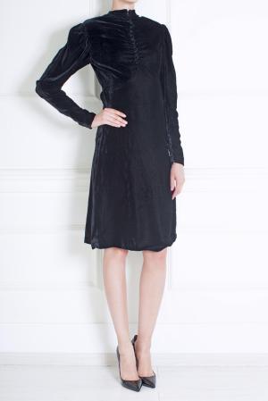 Платье из вискозы и шелка Luisa Beccaria. Цвет: иссиня-черный