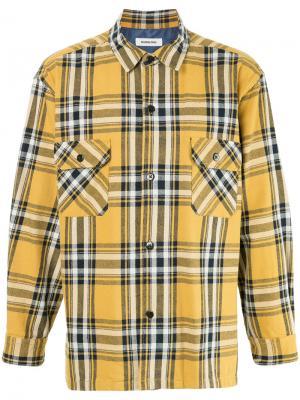 Рубашка в клетку monkey time. Цвет: жёлтый и оранжевый