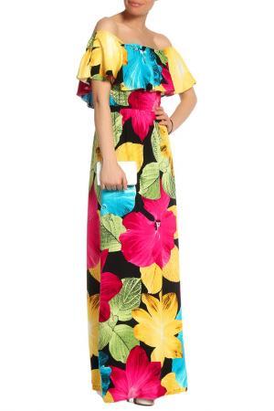 Платье в пол с открытыми плечами Mix Ray. Цвет: желтый