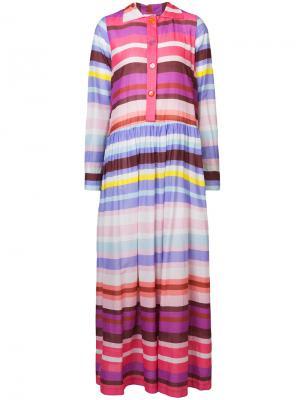 Длинное полосатое платье-рубашка Michel Klein. Цвет: многоцветный