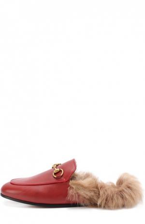 Кожаные сабо Princetown с пряжкой-трензелем Gucci. Цвет: красный