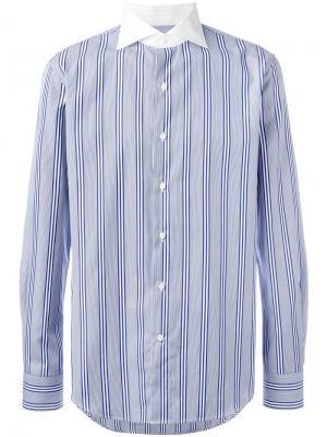 Полосатая рубашка с контрастным воротником Gabriele Pasini. Цвет: синий