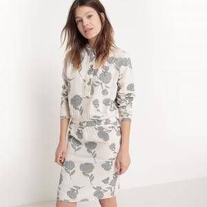 Платье с рубашечным воротником, длина до колен, рисунком La Redoute Collections. Цвет: серо-бежевый