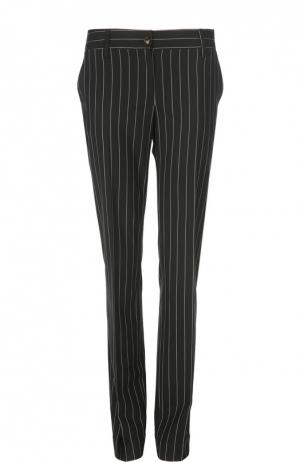 Прямые шерстяные брюки в полоску Kiton. Цвет: черно-белый