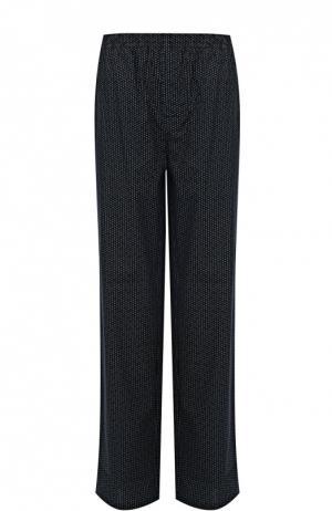 Хлопковые домашние брюки свободного кроя BOSS. Цвет: темно-синий