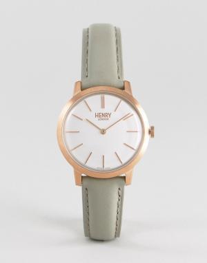 Henry London Часы с серым кожаным ремешком 34 мм. Цвет: серый