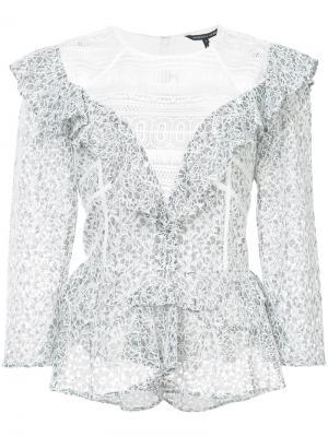 Кружевная блузка с рюшами Marissa Webb. Цвет: серый