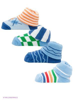 Носки, 4 пары Luvable Friends. Цвет: голубой, синий