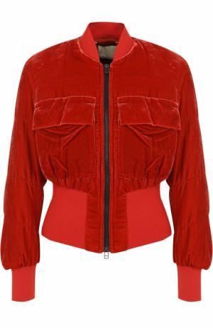 Укороченный бархатный бомбер с накладными карманами By Malene Birger. Цвет: красный