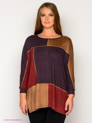 Туника МадаМ Т. Цвет: темно-фиолетовый, бежевый, темно-красный