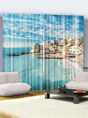 Комплект фотоштор Городок на тёплом море, 290*265 см Magic Lady. Цвет: синий, зеленый