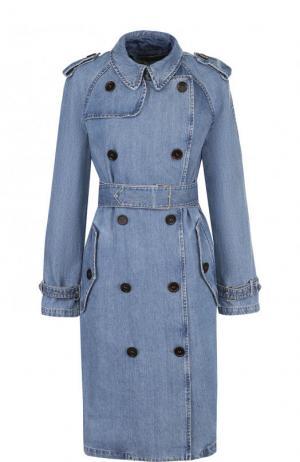 Двубортное джинсовое пальто с широким поясом и погонами Army Yves Salomon. Цвет: голубой