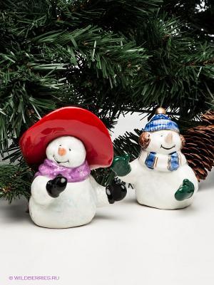 Набор соль-перец Снеговички Pavone. Цвет: белый, красный, синий