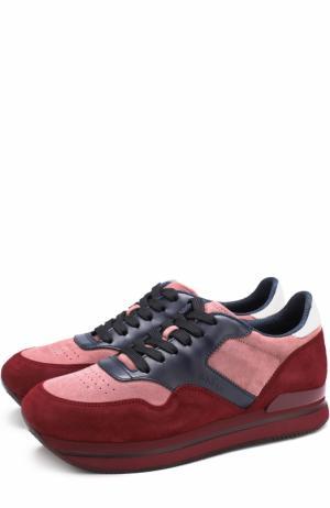 Замшевые кроссовки на шнуровке Hogan. Цвет: красный