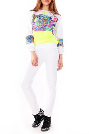 Костюм: джемпер, брюки Majaly. Цвет: белый, салатовый