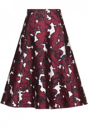 Шелковая расклешенная юбка с цветочным принтом Oscar de la Renta. Цвет: бордовый