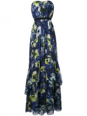 Long floral sleeveless dress Erdem. Цвет: синий
