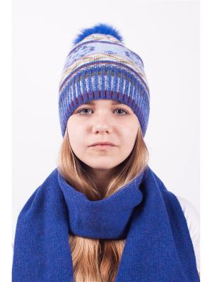 Шапка; шарф MARIELA. Цвет: синий