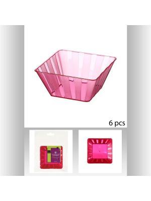 Набор cалатников квадратных пластиковых для пикника из 6 шт,  150 мл JJA. Цвет: фуксия