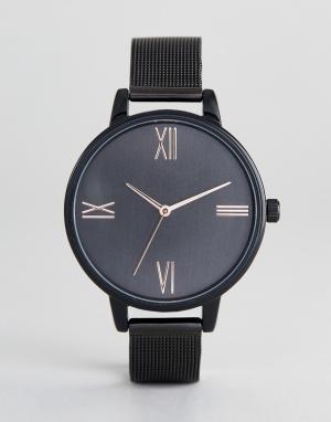 ASOS Черные часы с сетчатым браслетом DESIGN. Цвет: черный