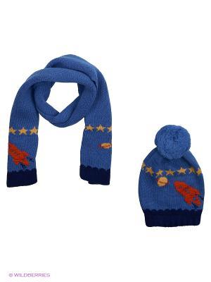 Комплект детский (шапка,шарф) R&I. Цвет: голубой