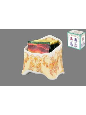 Подставка сервировочная для чайных пакетиков Золотой узор Elan Gallery. Цвет: желтый, золотистый