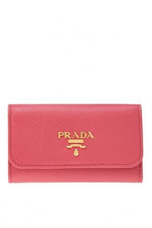 Кожаная ключница Prada. Цвет: розовый
