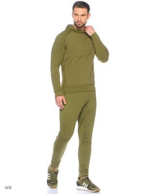 Трикотажные брюки Adidas. Цвет: темно-зеленый