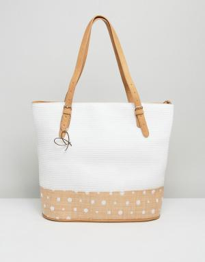 Pia Rossini Большая сумка-тоут с отделкой в спортивном стиле Summer. Цвет: белый