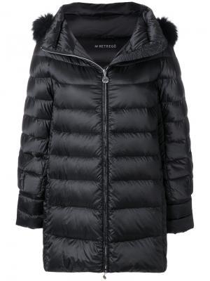 Удлиненная пуховая куртка с капюшоном Hetregò. Цвет: чёрный