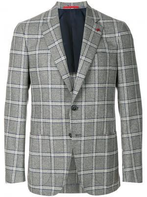 Checked button blazer Isaia. Цвет: серый