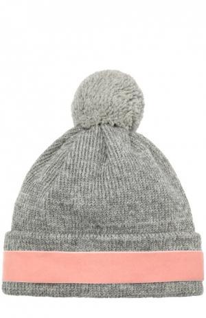 Шерстяная шапка с декоративной отделкой 7II. Цвет: серый