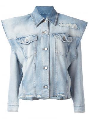 Структурированная джинсовая куртка Mm6 Maison Margiela. Цвет: синий