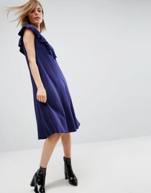 ASOS Платье-футболка с оборками. Цвет: темно-синий