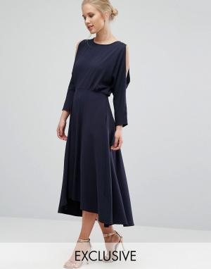 Closet London Платье с длинными рукавами и вырезами на плечах. Цвет: темно-синий