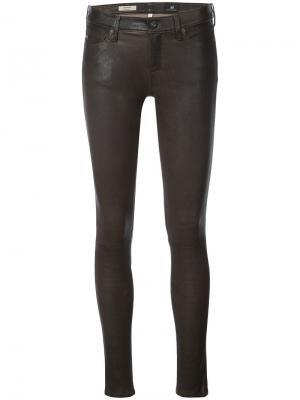 Кожаные брюки Ag Jeans. Цвет: коричневый