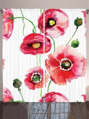 Фотошторы Алые цветы, 290*265 см Magic Lady. Цвет: бежевый, молочный, красный, белый, зеленый