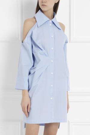 Хлопковое платье-рубашка MoS. Цвет: голубой