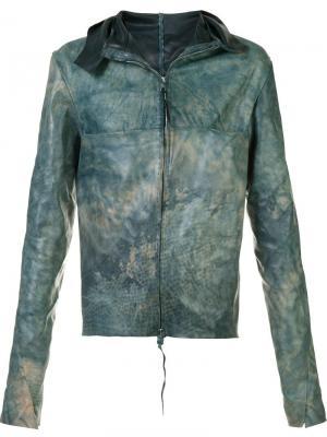 Кожаная куртка с широким воротником Ma+. Цвет: синий