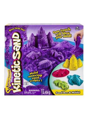 Кинетический песок для лепки, лоток, 4 формочки.  454 грамма, цвет фиолетовый SPIN MASTER. Цвет: фиолетовый