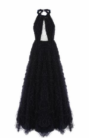 Приталенное платье-макси с открытой спиной Jenny Packham. Цвет: темно-синий