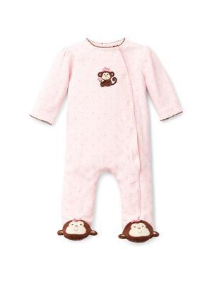 Комбинезон Веселая обезьянка Little Me. Цвет: розовый