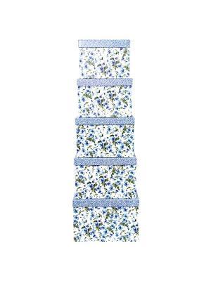 Коробка картонная, набор из 5 шт. 22х22х16 - 30х30х20 см. Цветы и джинс. VELD-CO. Цвет: синий, белый, голубой