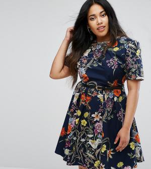 Uttam Boutique Plus Платье с поясом и цветочным принтом. Цвет: темно-синий