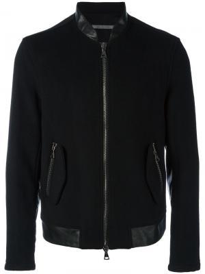 Куртка-бомбер с контрастной окантовкой John Varvatos. Цвет: чёрный