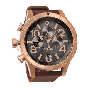 Часы  Chrono Leather Rose Gold/Gunmetal/Brown Nixon. Цвет: коричневый