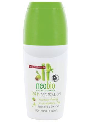 Neobio дезодорант шариковый 24 часа с био-оливой и бамбуком. Цвет: белый